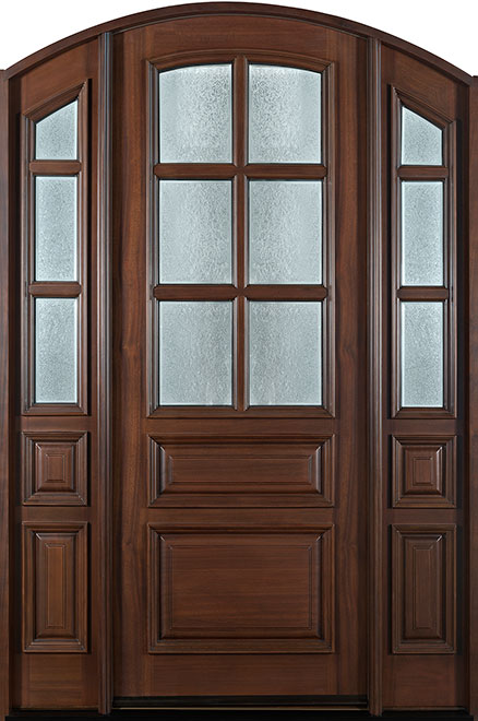 Classic Mahogany Wood Entry Door - Single with 2 Sidelites - DB-652 2SL