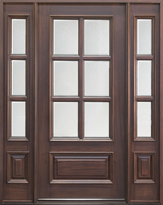 Classic Series Mahogany Wood Entry Door - Single with 2 Sidelites - DB-655 2SL