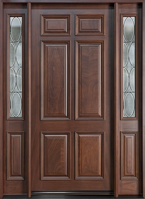 Classic Series Mahogany Wood Entry Door - Single with 2 Sidelites - DB-660W 2SL