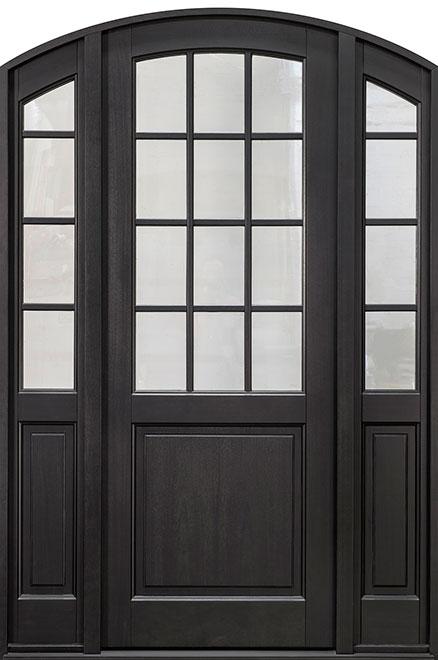 Classic Mahogany Wood Entry Door - Single with 2 Sidelites - DB-801PT 2SL