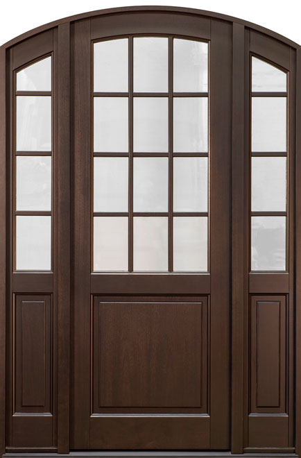 Classic Series Mahogany Wood Entry Door - Single with 2 Sidelites - DB-801PT 2SL