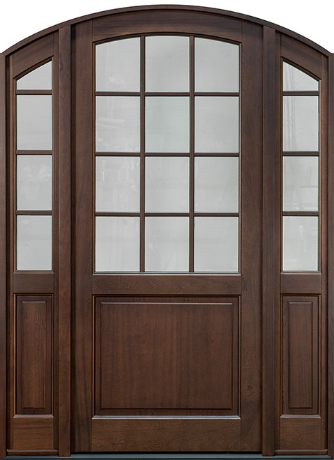 Classic Series Mahogany Wood Entry Door - Single with 2 Sidelites - DB-801PW 2SL
