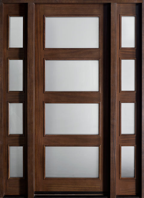 Modern Mahogany Wood Front Door - Single with 2 Sidelites - DB-823W 2SL CST