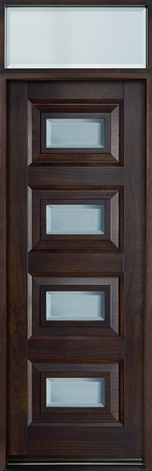 Modern Mahogany Wood Front Door - Single - DB-825PT TR-EN1 CST