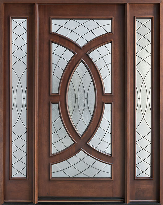 Contemporary Series Mahogany Wood Entry Door - Single with 2 Sidelites - DB-885 2SL
