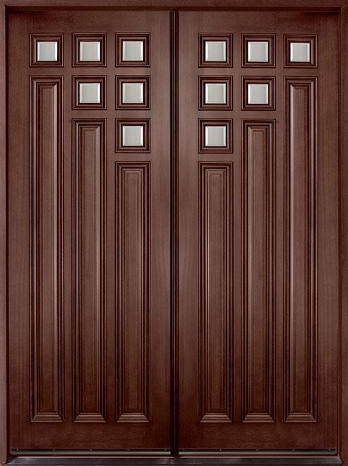 Modern Mahogany Wood Front Door - Double - DB-975 DD CST