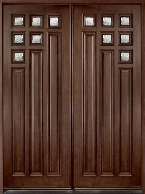 Contemporary Series Mahogany Wood Entry Door - Double - DB-976 DD