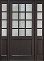 DB-012PW 2SL Mahogany-Espresso Wood Entry Door