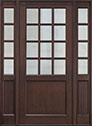 DB-012PW 2SL Mahogany-Walnut Wood Entry Door