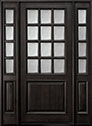 DB-012W 2SL Mahogany-Espresso Wood Entry Door