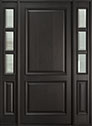 DB-301PW 2SL Mahogany-Espresso Wood Entry Door