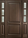 DB-301PW 2SL Mahogany-Walnut Wood Entry Door