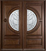 DB-385S DD Mahogany-Walnut Wood Entry Door