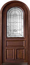 DB-495W  Mahogany-Walnut Wood Entry Door