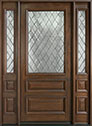 DB-611WDG 2SL Mahogany-Walnut Wood Entry Door