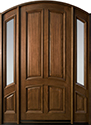 Mahogany Solid Wood Front Entry Door - Single with 2 Sidelites