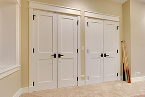 Paint Grade Interior Door. Custom Interior Double Doors, 2 Flat Panel White  Painted