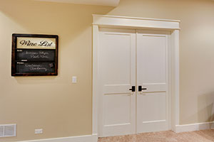 Paint Grade Interior Door. Custom Interior Double Door, 2 Flat Panel White  Painted