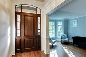 Classic Entry Door.  Custom 2 Panel Solid Mahogany Entry Door with 2 Sidelites and Transom, Clear Beveled Glass, Interior View DB-301T 2SL