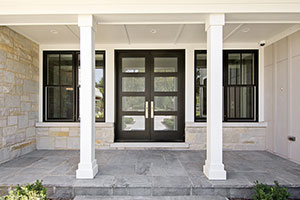Modern Entry Door.  Custom Front Entry Double Door - Modern Style with Privacy Glass DB-EMD-823 DD CST