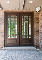Classic Entry Door.  Wooden Door with Beveled Glass and Prairie Grills DB-511 DD CST