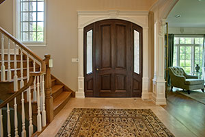 Classic Entry Door.  4 Panel Single Solid Mahogany Wood Door with sidelites - Clear Beveled Glass DB-152W 2SL