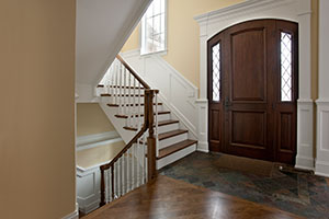 Classic Entry Door.  2 Panel Arched Top Mahogany Single Door with Dimaond Beveled Glass DB-552 2SL