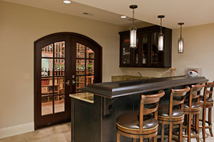 Wine Cellar WineCellar Door.  Custom Interior Arched Top Double Door, Clear Glass with Bevel For Wine Cellar DBI-916A DD