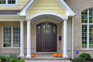 Classic Entry Door.  Classic Collection Solid Wood Arched Top Front Entry Door with Sidelites DB-112WA 2SL
