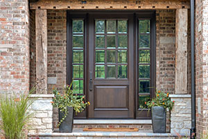 Classic Entry Door.  Custom Solid Mahogany Wood Door with Two Sidelites, Clear Beveled Glass with Grilles