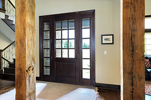 Classic Entry Door.  Custom Solid Mahogany Wood Door with Two Sidelites, Clear Beveled Glass with Grilles, Interior View