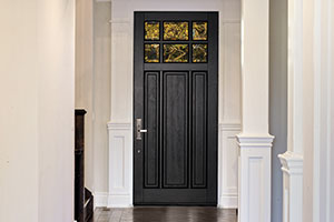 Classic Entry Door.  Classic Collection 3 Panel Door, Euro Technology, Clear Beveled Glass, Interior View DB-311PW