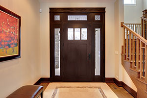 Craftsman Entry Door.  Custom Craftsman Solid Mahogany Wood Door with Sidelites and Transom with Clear Beveled Glass, Interior View
