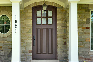 Classic Entry Door.     Custom Solid Mahogany Door, Beveled Glue Chip Privacy Glass with Grilles GD-012WA