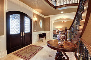 Classic Entry Door.  Custom Solid Mahogany Wood Double Door with Transom with Clear Diamond Glass, Interior View