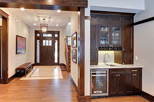 Craftsman Entry Door.  Custom Craftsman Solid Mahogany Wood Door with Sidelites and Transom with Clear Beveled Glass