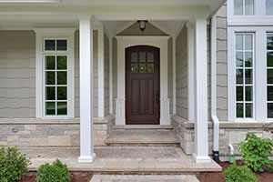 Solid Wood Front Entry Doors in-Stock | modern 4 panel, clear glass entry double doors DB-112WA
