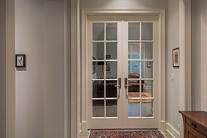 Paint Grade Interior Door.  10-Lite Paint Grade MDF Double Door with Clear Glass for Office Entry