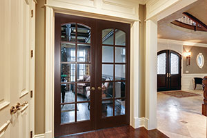 Traditional Interior Door.  Custom Interior Door, Clear Glass with Bevel, Grilles with Arch Top