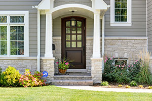 Classic Entry Door.  Custom Solid Mahogany Wood Door, Insulated, Privacy Rain Glass DB-012WA