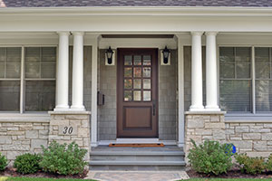 Classic Entry Door.  Classic Collection French Solid Wood Front Entry Door - Clear Beveled Glass DB-012W