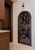 Wine Cellar WineCellar Door.  Custom Wine Cellar Wood Door - Wrought Iron Work