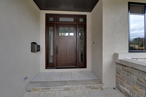 Craftsman Entry Door.  Custom Craftsman Solid Mahogany Wood Door with Sidelites and Transom with Clear Beveled Glass, Exterior View