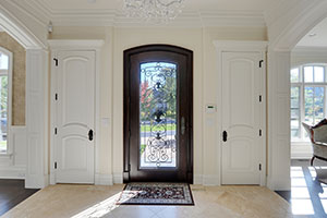 Heritage Entry Door.  Custom Solid Mahogany Wood Door with Wrought Iron, Heritage Collection