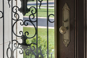 Heritage Entry Door.  Custom Solid Mahogany Wood Door with Wrought Iron, Heritage Collection, Detail