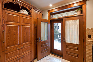 Craftsman Entry Door.  Custom Solid Wood Historical Home Renovation Mahogany Double Door with Transom