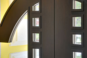 Transitional Entry Door.  Custom Solid Mahogany Wood Door, Contemporary Modern Collection, Detail DB-003 DD CST