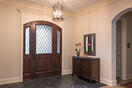 Classic Entry Door.  interior view of single door with sideites, solid wood DB-552WDG 2SL 106