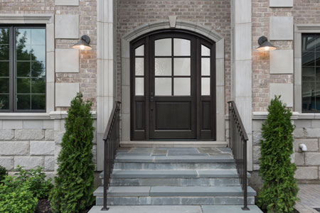 Classic Entry Door.  classic wood entry door, single with sidelites DB-651PW 2SL