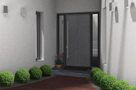Modern Entry Door.    GD-EMD-715W 2SL 3